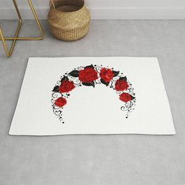 Moon of Red Roses Rug