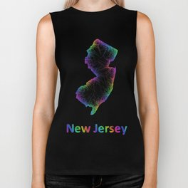Rainbow New Jersey map Biker Tank