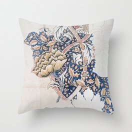 Design for Windrush by William Morris 1883 // Romanticism Blue Red Yellow Color Filled Floral Design Throw Pillow