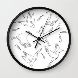 Little Birds Pattern Hand Drawn Minimal Art  Wall Clock