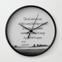 jane eyre Wall Clocks featuring Jane Eyre World by KimberosePhotography