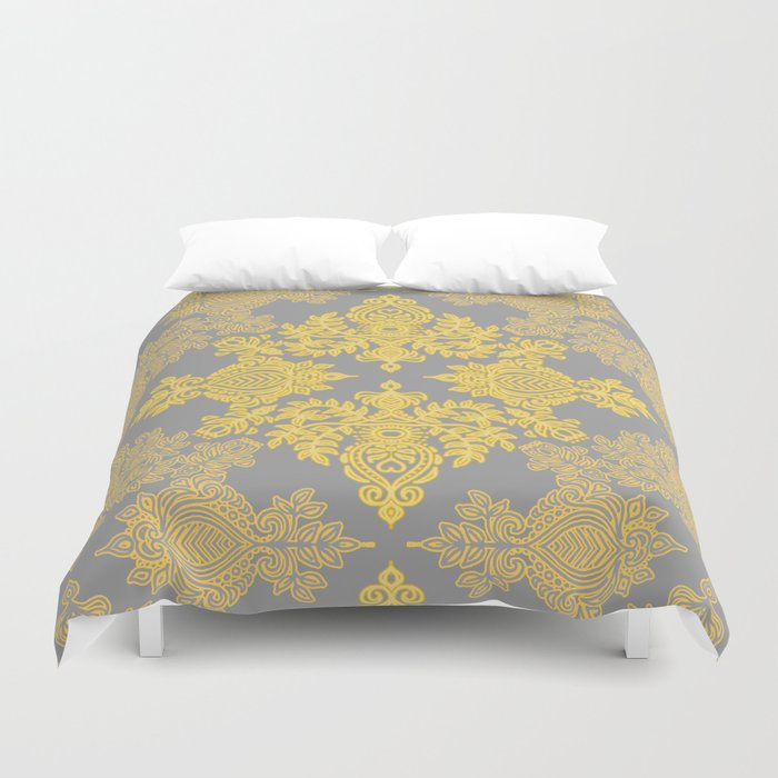 Golden Folk - doodle pattern in yellow & grey Duvet Cover