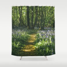 Path through wild Bluebells in ancient woodland. Wayland Wood, Norfolk, UK. Shower Curtain