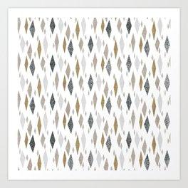 Danish Diamond Mid-Century Geometric Print Tan Art Print