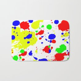 Colorful Paint Splatter. Bath Mat