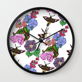 Hummingbird Moths in the blooms of France Wall Clock
