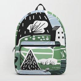 Mountain Valley Village Cute Scandinavian Homes Green Hills Seamless Pattern Backpack