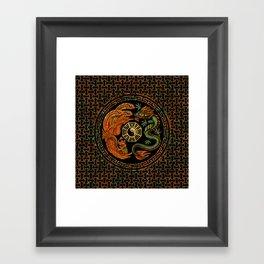 Phoenix and Dragon with bagua #2 Framed Art Print
