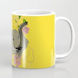 Lucky Elephant in Yellow Coffee Mug