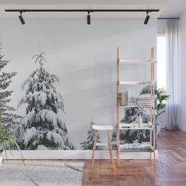 Winter Trees VII - Snow Capped Forest Adventure Nature Photography Wall Mural