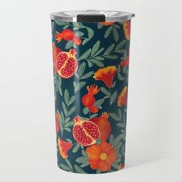 Pomegranate. Blue pattern Travel Mug