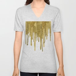 Gold paint drips Unisex V-Neck