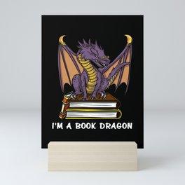 I Am A Book Dragon Not A Worm Reading Mini Art Print