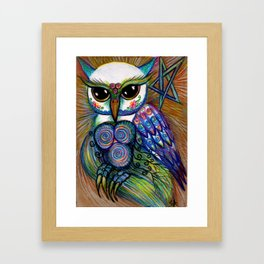 Owls are Magic, original illustration by Sheridon Rayment from Spirit Owl Series. Framed Art Print