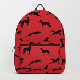 Greyhound Silhouettes on Red Backpack