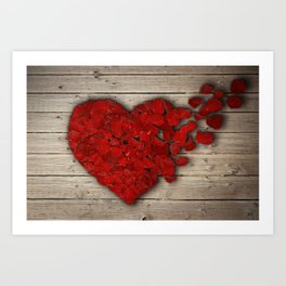 rose heart Art Print