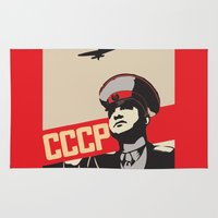 soviet Area & Throw Rugs featuring SOVIET RED ARMY by Sofia Youshi