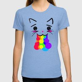 Kawaii Kitty Rainbow Face T-shirt
