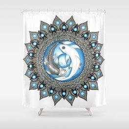 Yin and Yang Butterfly Koi Fish Mandala Shower Curtain