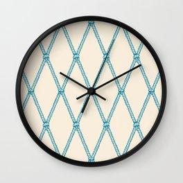 Nautical Fishing Net (Beige and Teal) Wall Clock