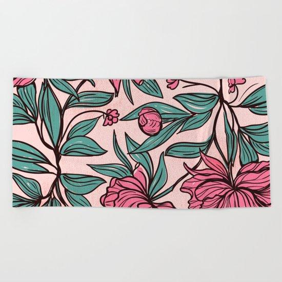 Floral Obsession (pink peonies vintage flowers pattern) Beach Towel