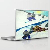 snowboarding Laptop & iPad Skins featuring Snowboarding ; Putting In Your Eight Hours by N_T_STEELART