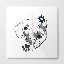 Cat and Dog Face Love Design Metal Print