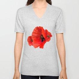 Poppies on Black Unisex V-Neck