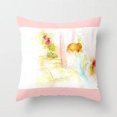 Girl studying Throw Pillow