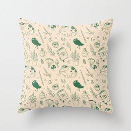 Garden Witch Pattern Throw Pillow