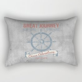 Maritime Design- Great Journey Ocean Adventure on gray abstract background Rectangular Pillow