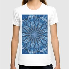 electric blue swirl mandala T-shirt