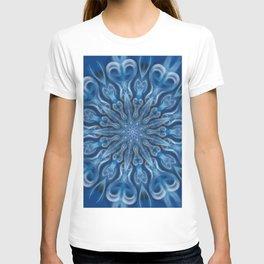 electric blue swirl mandala T-shirt