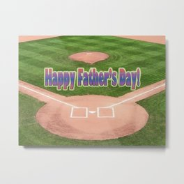Happy Father's Day Baseball Metal Print