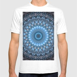 Digital mandala with light blue dominant. T-shirt