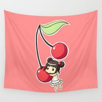 cherry Wall Tapestries featuring Cherry by Freeminds