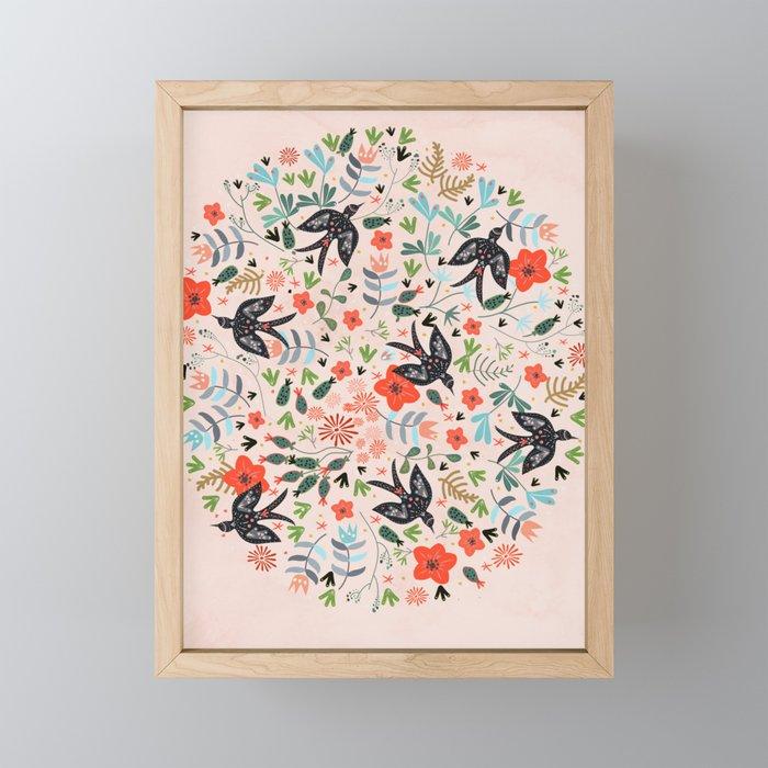 Around The Garden on Pink Framed Mini Art Print