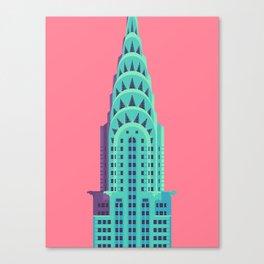 Chrysler Building New York Art Deco - Red Canvas Print