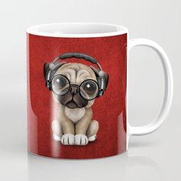 Cute Pug Puppy Dj Wearing Headphones and Glasses on Red Coffee Mug