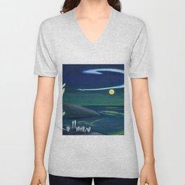Island Moon before the World coastal island landscape painting by Marguerite Blasingame Unisex V-Neck