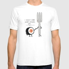 Sushi doesn't care Mens Fitted Tee White SMALL