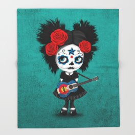 Day of the Dead Girl Playing Colorado Flag Guitar Throw Blanket