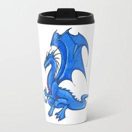 fairytale blue dragon with crystal ball for protection Travel Mug