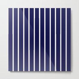 Purple and White Stripes Metal Print
