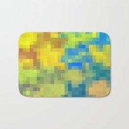 yellow blue brown pixel abstract Bath Mat