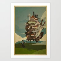 castle Art Prints featuring Moving Castle by Danny Haas