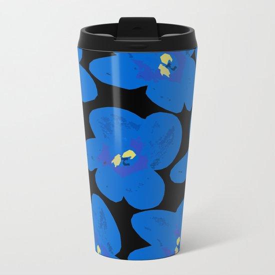 Blue Retro Flowers on Black Background Metal Travel Mug
