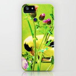 Goldfinch Yellow Bird Purple Flowers Modern Cottage Chic Decor A101 iPhone Case