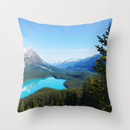 Scenic Canadian Blue Mountain Lake Pines Throw Pillow