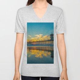 Reflections of Huntington Sunset Unisex V-Neck
